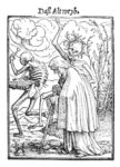 Death and the Old Woman, from 'The Dance of Death', engraved by Hans Lutzelburger, c.1538 (woodcut) (b/w photo) Wall Art & Canvas Prints by Hans Holbein The Younger