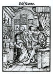 The Nun, from 'The Dance of Death', engraved by Hans Lutzelburger, c.1538 (woodcut) (b/w photo) Wall Art & Canvas Prints by Hans Holbein The Younger