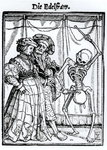 Death and the Noblewoman, from 'The Dance of Death', engraved by Hans Lutzelburger, c.1538 Poster Art Print by Hans Holbein The Younger