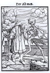 Death and the Old Man, from 'The Dance of Death', engraved by Hans Lutzelburger, c.1538 (woodcut) (b/w photo)