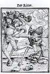 Death and the Knight, from 'The Dance of Death', engraved by Hans Lutzelburger, c.1538 (woodcut) (b/w photo)