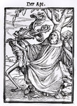 Death and the Abbot, from 'The Dance of Death', engraved by Hans Lutzelburger, c.1538 Fine Art Print by Hans Holbein The Younger