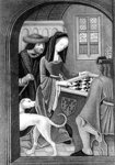 Playing Chess, engraved by T. Fry (engraving) (b/w photo) Wall Art & Canvas Prints by Lisa Graa Jensen