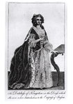 The Duchess of Kingston (1720-88) in the Dress which she wore on her Introduction to the Empress of Russia (engraving) (b/w photo) Postcards, Greetings Cards, Art Prints, Canvas, Framed Pictures, T-shirts & Wall Art by English School