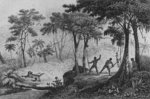 Jaguar Hunt, from 'Bresil, Columbie et Guyanes' by Ferdinand Denis and Cesar Famin 1837(engraving) (b/w photo) Wall Art & Canvas Prints by Vicente Alban