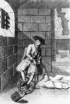 Jack Shepperd in Newgate Prison, 1724 (etching) (b/w photo) Fine Art Print by Antoine Charles Horace Vernet