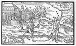 Month of October, from the 'Shepheardes Calender' by Edmund Spenser (1552-99), facsimile of original published in 1586 (woodcut) (b/w photo) Fine Art Print by Niko Pirosmani