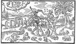 Month of November, from 'The Shepheardes Calender'by Esmond Spenser (1552-99), facsimile from original published in 1579 (woodcut) (b/w photo) Fine Art Print by Niko Pirosmani