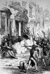 Attack on the Westgate Hotel, Newport on 4th November 1839 (engraving) (b/w photo) Wall Art & Canvas Prints by French School