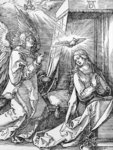 The Annunciation from the 'Small Passion' series, 1511 (woodcut) (b/w photo) Wall Art & Canvas Prints by Bartolomeo Passarotti