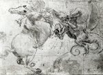Battle between a Rider and a Dragon, c.1482 (stylus underdrawing, pen and brush on paper) Wall Art & Canvas Prints by Leonardo Da Vinci