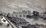 Modern Paris: The Pont Neuf, 1845 (engraving) Postcards, Greetings Cards, Art Prints, Canvas, Framed Pictures, T-shirts & Wall Art by Charles Laurent Grevenbroeck