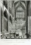 View of the Orchestra and Performers in Westminster Abbey, during the Commemoration of Handel, published by Charles Burney, 1785 (engraving) (b/w photo) Fine Art Print by Judy Joel