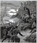 The State of Ireland: The Affray at Belmullet, County Mayo, from 'The Illustrated London News', November 12th 1881 (engraving) Fine Art Print by English School