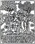 Tending Vines from 'Livre des prouffits champetres' by Petrus de Crescentiis, edition published in 1529 (woodcut) Wall Art & Canvas Prints by Sophia Elliot