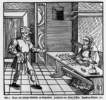 Money Lender, 1531 (woodcut) (b/w photo)