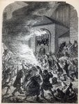 The 'No Popery' rioters burning the prison of Newgate in 1780 (engraving) Fine Art Print by Pierre-Antoine Demachy