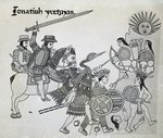 Fight between the Spanish and the Aztecs, plate from 'Antiguedades Mexicanas' by Alfredo Chavero, 1892 (engraving) Fine Art Print by Spanish School