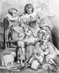Grandmother telling a story to her grandchildren, illustrated title page from 'Les contes de Perrault', engraved by Pannemaker, published by J.Hetzel, 1862 Fine Art Print by French School