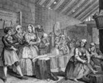 A Harlot's Progress, plate IV, Scene in Bridewell Fine Art Print by William Hogarth