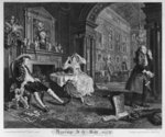 Marriage a la Mode, Plate II, The Tete a Tete, 1745 (engraving) Fine Art Print by William Hogarth
