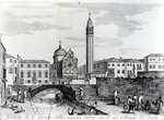 View of San Giorgio dei Greci and the Flanginian School, Venice (engraving) Fine Art Print by German School