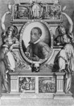 Portrait of Ambassador Antonius Emanuel, with four historical scenes from his life, 1608 (engraving) Wall Art & Canvas Prints by Johann Baptist I Lampi
