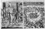 The burning of Rose Allin's hand by Edmund Tyrell and the burning of 6 martyrs at Colchester, from 'Acts and Monuments' by John Foxe, 1563 (woodcut) Wall Art & Canvas Prints by French School