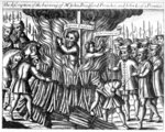 The burning of John Bradford and John Lease, from 'Acts and Monuments' by John Foxe, 1563 (woodcut) Postcards, Greetings Cards, Art Prints, Canvas, Framed Pictures, T-shirts & Wall Art by French School