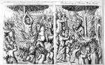 The burning of Thomas Hawkes and Thomas Watts, from 'Acts and Monuments' by John Foxe, 1563 (woodcut) Wall Art & Canvas Prints by Alfred Mouillard