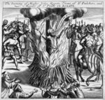 The burning of John Rogers, from 'Acts and Monuments by John Foxe, 1563 (woodcut) Postcards, Greetings Cards, Art Prints, Canvas, Framed Pictures, T-shirts & Wall Art by French School