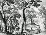 Adam and Eve hiding from The Lord, plate 3 of 'The Story of the First Men', engraved by Jan Sadeler I, 1583 (engraving) Postcards, Greetings Cards, Art Prints, Canvas, Framed Pictures, T-shirts & Wall Art by Andre Jacques Victor Orsel