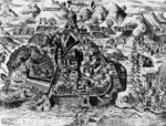 The Spanish attempt to capture Algiers, 1541 (engraving) Fine Art Print by English School