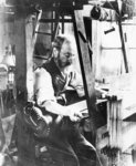 Man working at a handloom (b/w photo) Wall Art & Canvas Prints by Bertha Newcombe