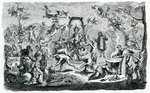The Witches' sabbath (engraving) Fine Art Print by Claude Gillot