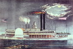 Moonlight on the Mississippi, published by Nathaniel Currier Fine Art Print by N. Currier