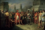 The Imprisonment of Guatimocin by the Troops of Hernan Cortes, 1856 (oil on canvas) Fine Art Print by Spanish School
