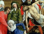 Descent from the Cross, 1435 (oil on panel) (detail of St. John, the Virgin Mary and Christ) (see also 187570) Wall Art & Canvas Prints by Sir Joseph Noel Paton