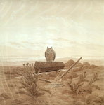 Landscape with Grave, Coffin and Owl Fine Art Print by John William North