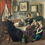 Pastor Johann Wilhelm Rautenberg and his Family, 1833 (w/c on paper) Fine Art Print by Pierre Auguste Renoir