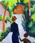 Mother and Child in the Park, 1914 (oil on canvas) Fine Art Print by August Macke