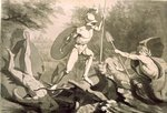 Fight of Achilles with the River Scamander (pen and black and grey wash on paper) Fine Art Print by Philipp Otto Runge