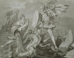 Fight of Achilles with the River Scamander (black and grey wash on paper) Fine Art Print by Philipp Otto Runge