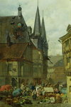 The Marketplace in Wernigerode, 1861 (oil on canvas) Wall Art & Canvas Prints by Henri Courvoisier-Voisin