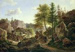 A Watermill in the Vosges near Ribanville, 1836 (oil on canvas)