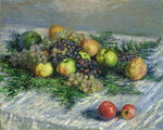 Still Life with Pears and Grapes, 1880 (oil on canvas) Postcards, Greetings Cards, Art Prints, Canvas, Framed Pictures, T-shirts & Wall Art by Pierre Auguste Renoir