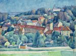 Hardricourt Village and Castle (oil on canvas) Fine Art Print by Paul Cezanne