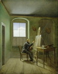 Caspar David Friedrich (1774-1840) in his studio, 1811 (oil on canvas) Fine Art Print by Gustave Courbet