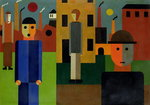 Factories, 1926 (oil on card)
