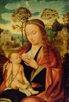 Mary with the Christ Child, early 16th century (oil on panel) Postcards, Greetings Cards, Art Prints, Canvas, Framed Pictures, T-shirts & Wall Art by Hans Memling